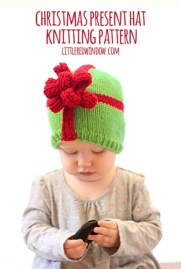Christmas Present Bow Hat Knitting Pattern - Little Red Window