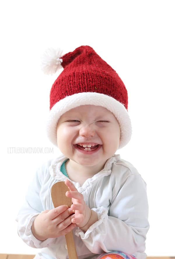 Little Santa Hat Knitting Pattern, a simple pattern for your little one for the holidays! | littleredwindow.com