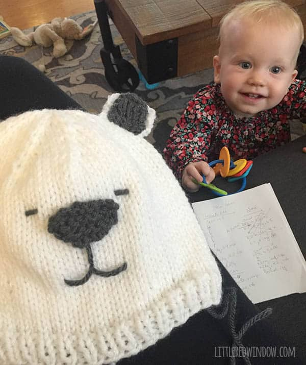 Little Polar Bear Hat Knitting Pattern, perfect for winter! | littleredwindow.com