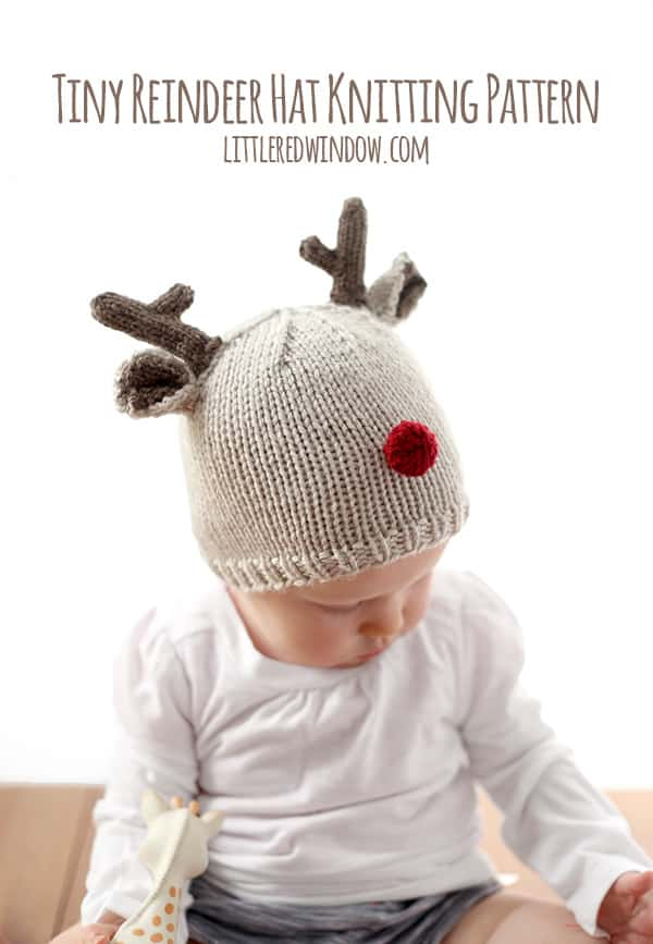 Tiny Reindeer Hat Knitting Pattern - Little Red Window