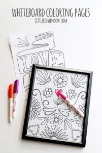 DIY Whiteboard coloring pages, color, erase and color again! With free printable coloring pages! | littleredwindow.com
