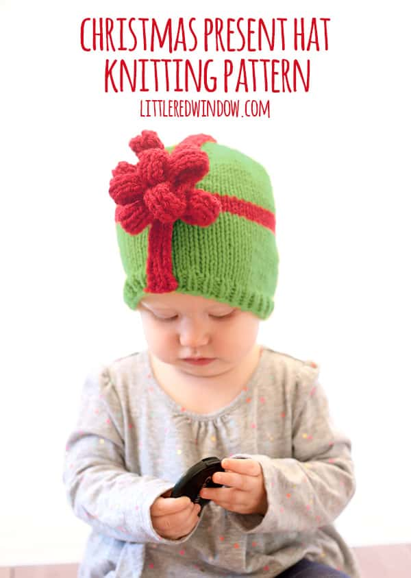 Free Knit Patterns For Headbands : Christmas Present Bow Hat Knitting Pattern - Little Red Window
