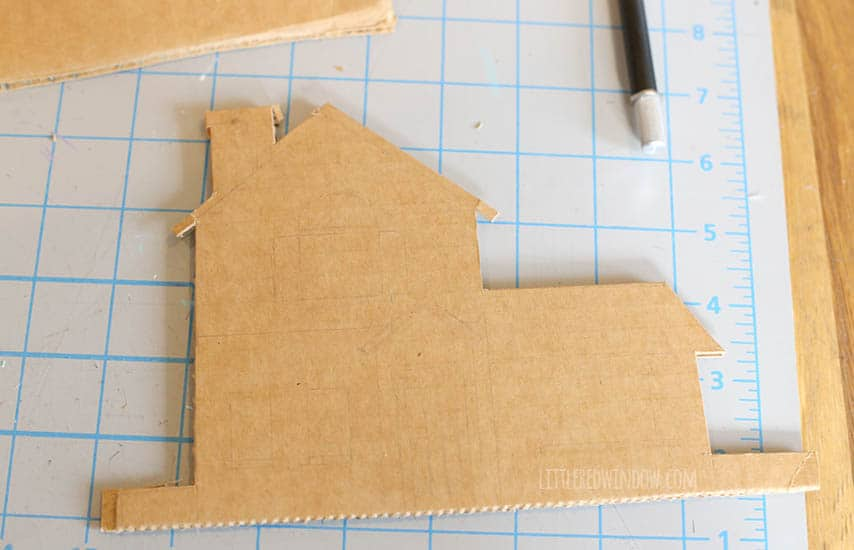 Cardboard Gingerbread House Wreath Process - littleredwindow.com