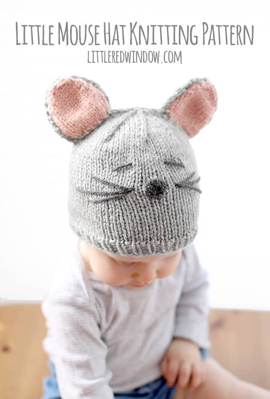 Knitting Pattern Mouse Hat : Little Mouse Hat Knitting Pattern - Little Red Window