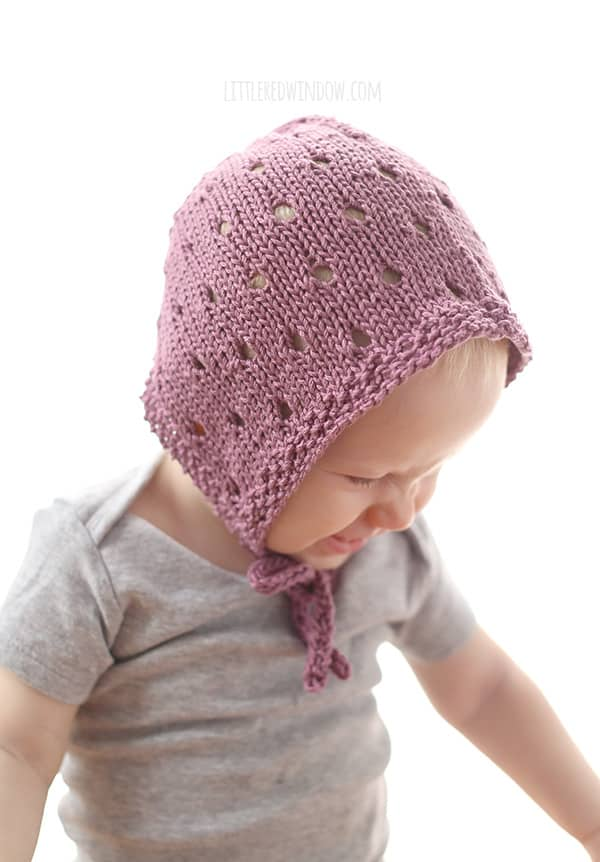Sweet Bonnet Baby Hat Knitting Pattern!| littleredwindow.com