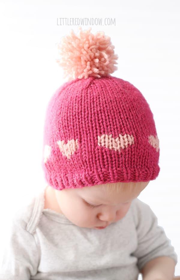 Little Valentine Fair Isle Heart Hat Knitting Pattern | littleredwindow.com