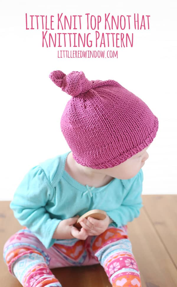 Knitting Pattern Top Hat : Little Knit Top Knot Hat Knitting Pattern - Little Red Window