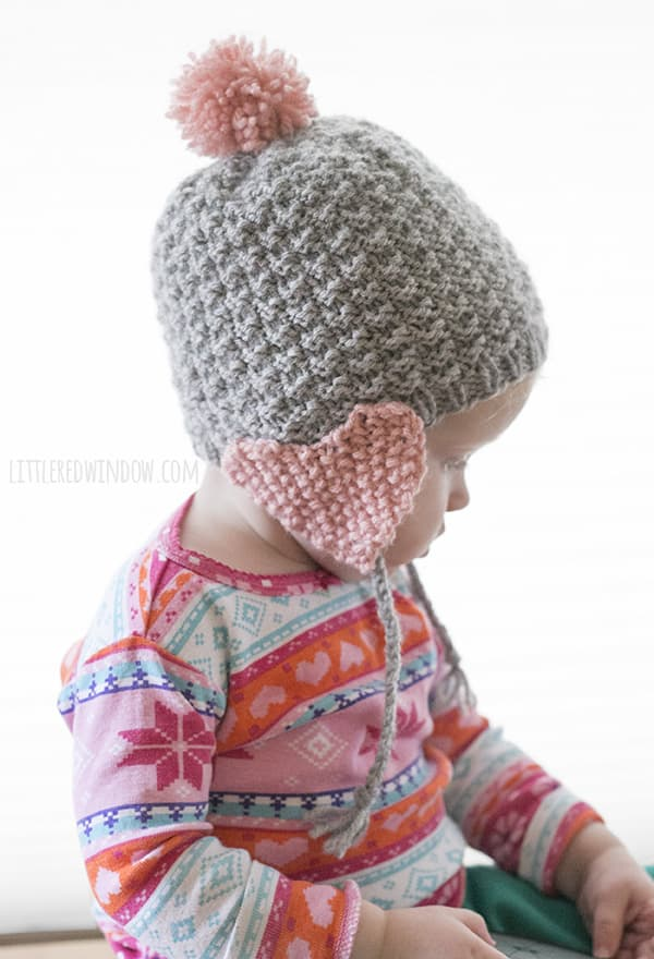 Valentine Heart Earflap Hat Knitting Pattern! | littleredwindow.com