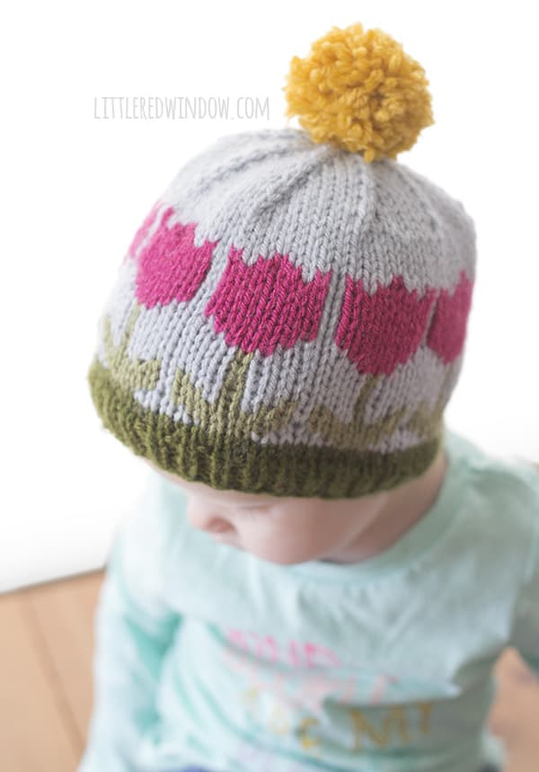 Spring Tulip Hat Fair Isle Knitting Pattern for babies and toddlers! | littleredwindow.com