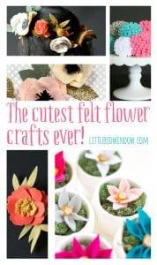 The cutest Felt Flower Crafts EVER! | littleredwindow.com