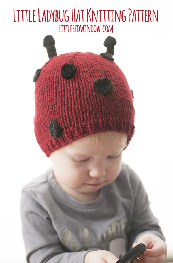 Little Ladybug Hat Knitting Pattern for babies! | littleredwindow.com