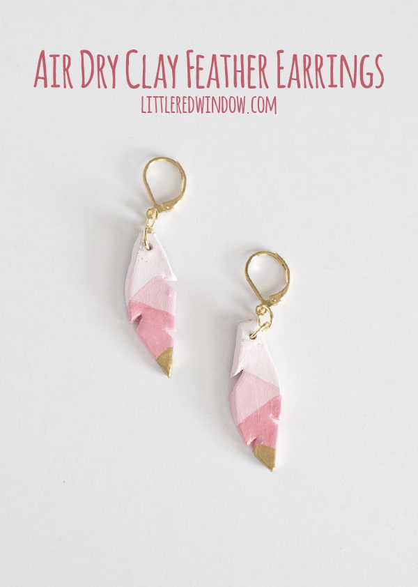 Easy Air Dry Clay Earrings, these cute feather earrings are lightweight and super simple to make!  | littleredwindow.com