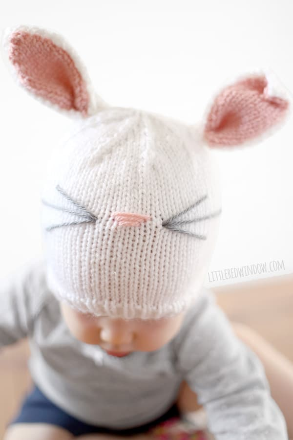 Baby Bunny Hat Knitting Pattern for babies and toddlers! | littleredwindow.com