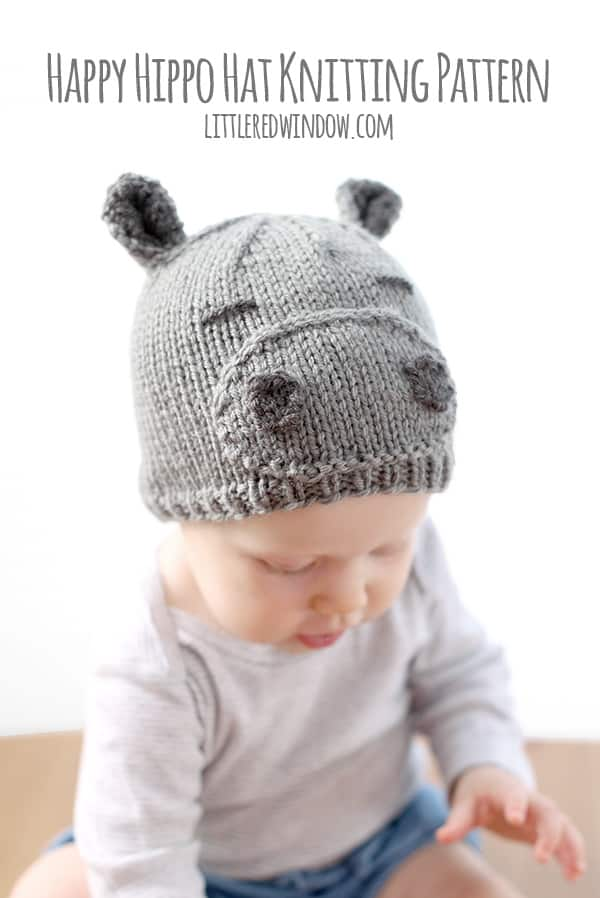 Tiny Baby Hat Knitting Pattern : Happy Hippo Hat Knitting Pattern - Little Red Window