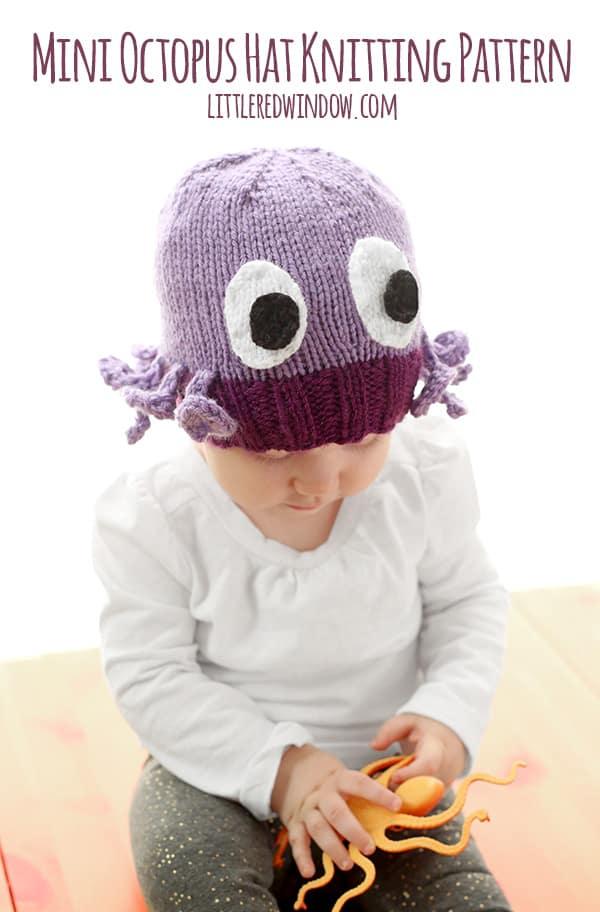 Knitting Pattern Octopus Hat : Mini Octopus Hat Knitting Pattern - Little Red Window