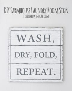 DIY Farmhouse Laundry Room Sign, stencil this cute sign yourself with this easy tutorial! | littleredwindow.com