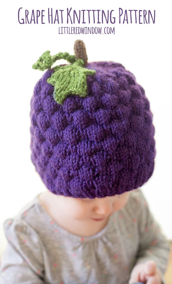 Vine Leaf Knitting Pattern : Grape Hat Knitting Pattern - Little Red Window