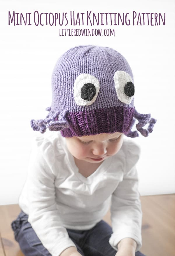 Mini Octopus Hat Knitting Pattern, available for babies and toddlers! | littleredwindow.com