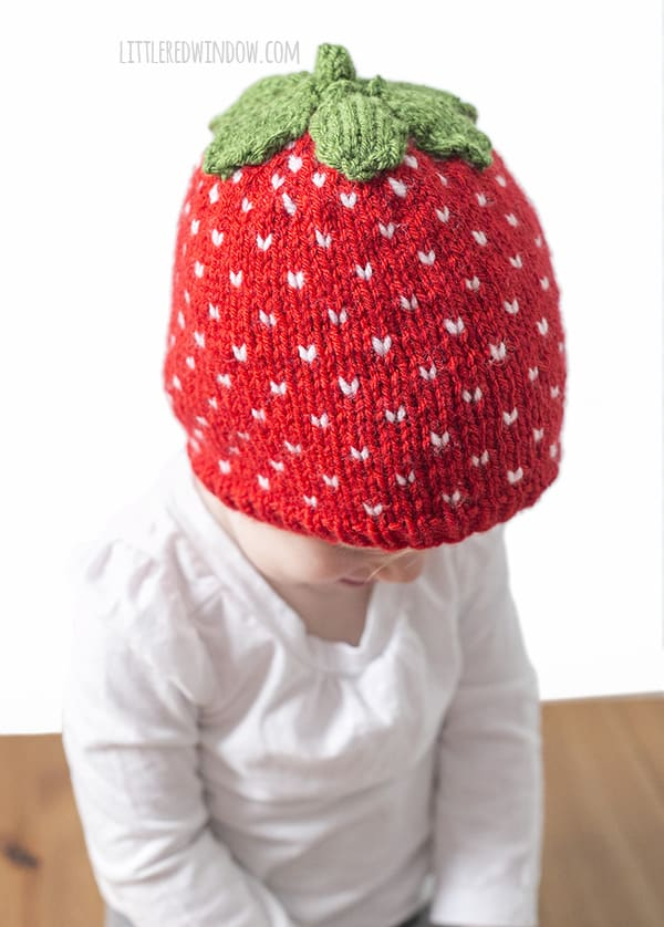 Strawberry Leaf Knitting Pattern : Fair Isle Sweet Strawberry Hat Knitting Pattern - Little ...