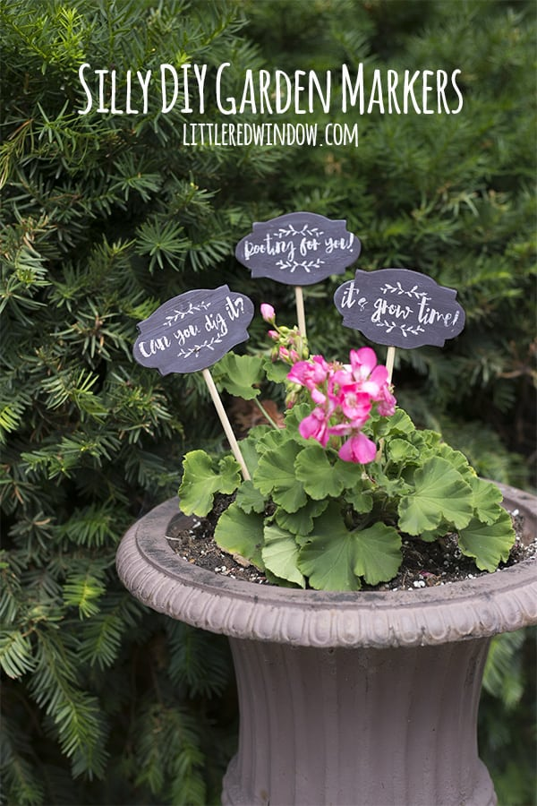 Learn how to do a faux chalkboard finish for these cute garden plant markers! | littleredwindow.com