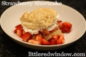 Strawberry Shortcake Biscuits with Fresh Strawberries and whipped cream! via littleredwindow.com