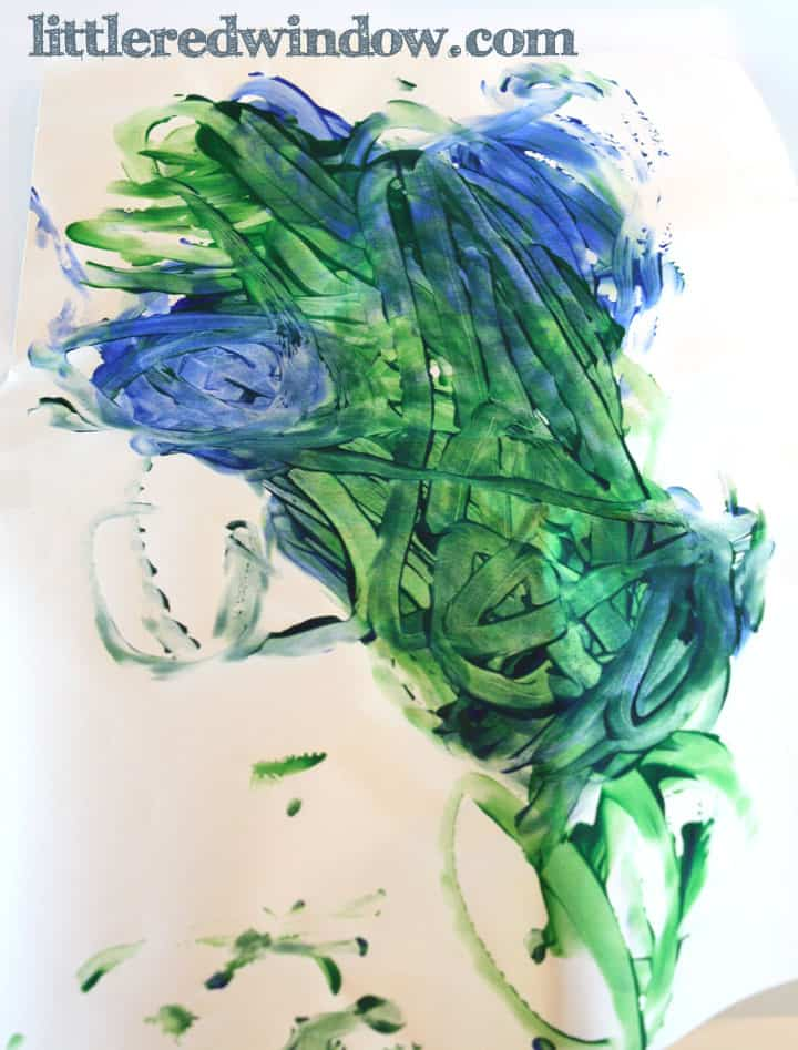 blue and green kid's finger painting