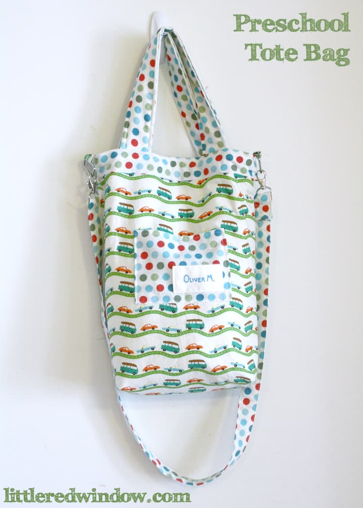 Preschool Tote Bag with cross body strap by Little Red Window