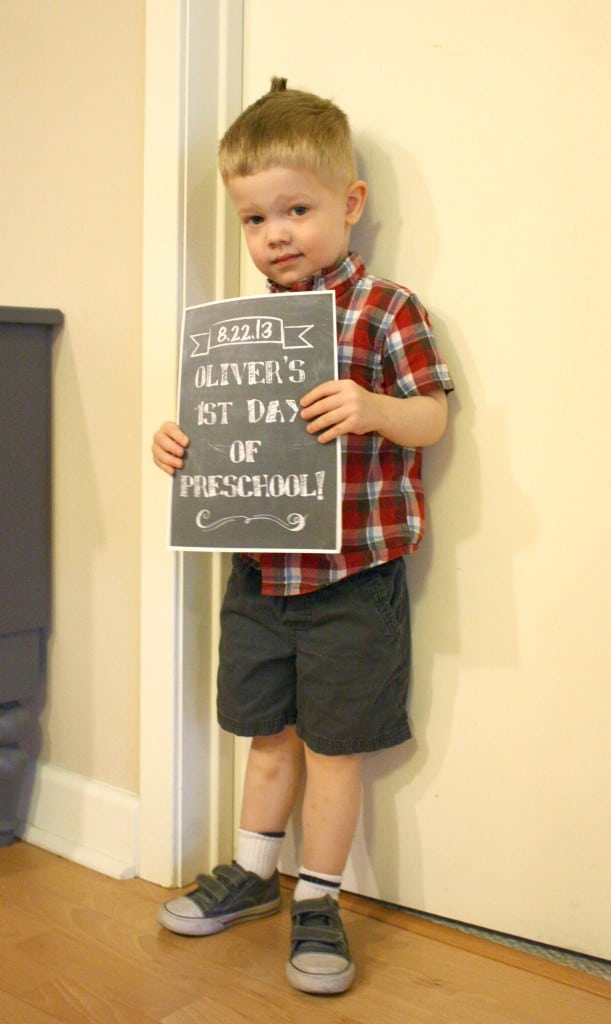 O's First Day of Preschool on Little Red Window