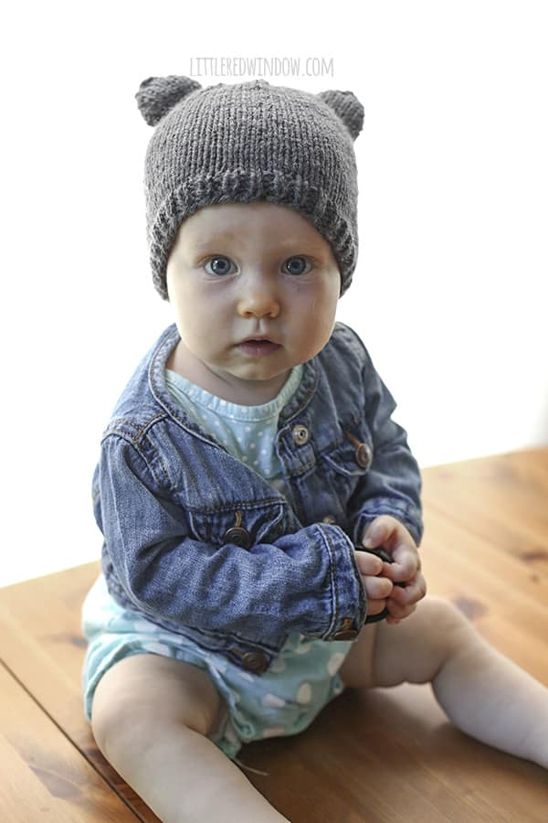 Baby Bear Hat Knitting Pattern, a cute and simple little baby hat with ears in sizes from newborn to toddler!  - littleredwindow.com