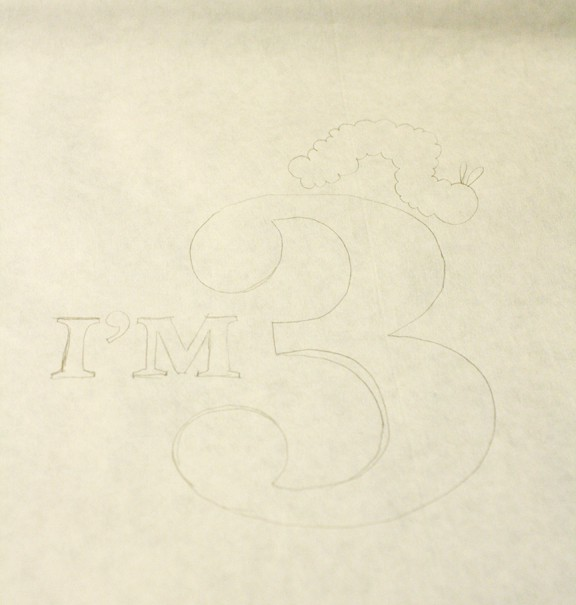 Freezer Paper Stencil Drawing the Design on Little Red Window