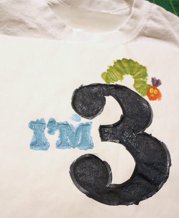 """Painted freezer paper stencil of the words """"I'm 3"""""""