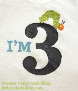 Very Hungry Caterpillar Freezer Paper Stencil Tshirt