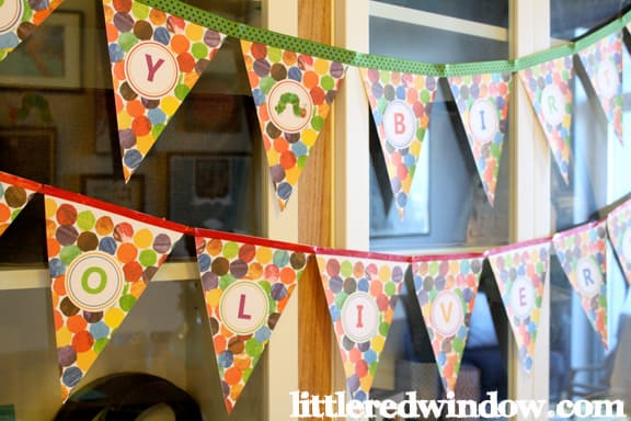A Very Hungry Caterpillar Birthday Pennant Banner hanging up
