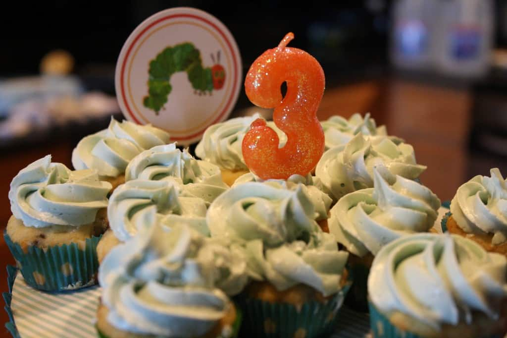 A Very Hungry Caterpillar Birthday Party -- Cupcakes by Little Red Window