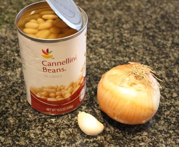 white beans, onion, garlic on Little Red Window
