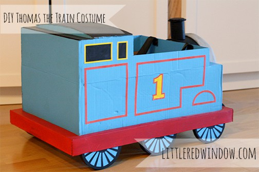 View of the back of the cardboard box train costume