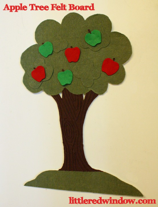 Apple Tree Felt Board with red and green felt apples on it