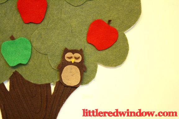 Owl on Apple Tree Felt Board by Little Red Window