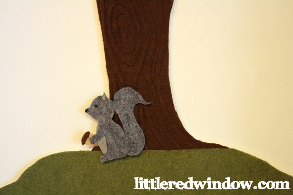 Squirrel on Apple Tree Felt Board