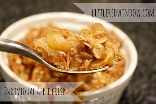 Individual Apple Crisp Recipe with Honeyed Greek Yogurt and Salted Caramel Sauce, a easy and really delicious way to use up all those extra apples! on Little Red Window