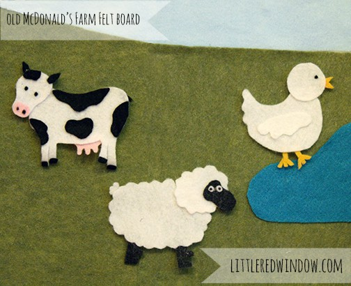Old McDonald's Farm Felt Board, Cow, Sheep, Duck on green felt background