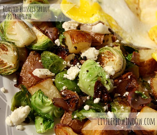 Roasted Brussels Sprouts and Potato Hash via Little Red Window