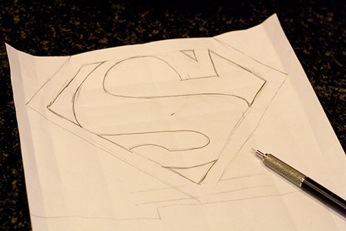 Superman logo drawn in pencil