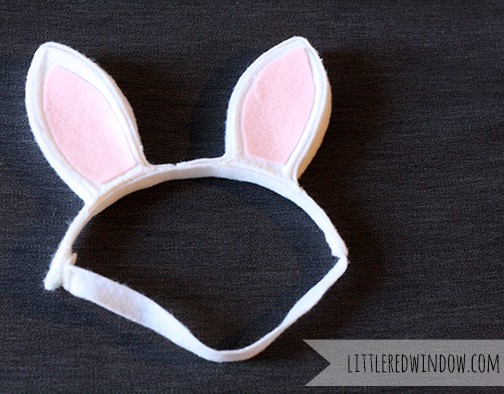 White and pink bunny ears headband
