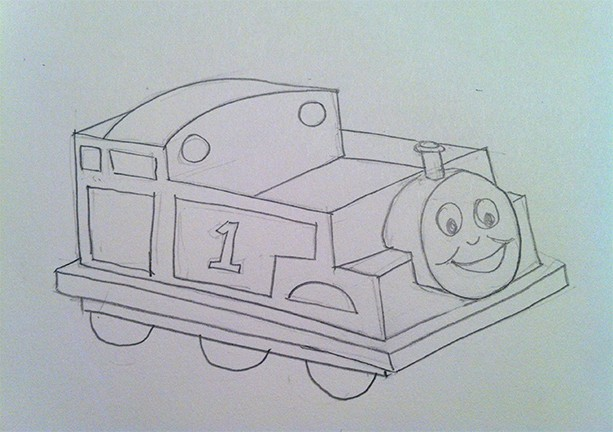 Pencil drawing of what the Thomas the Train box costume will look like