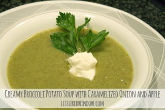 Creamy Broccoli & Potato Soup with Caramelized Onions and Apples, yum!! via littleredwindow.com