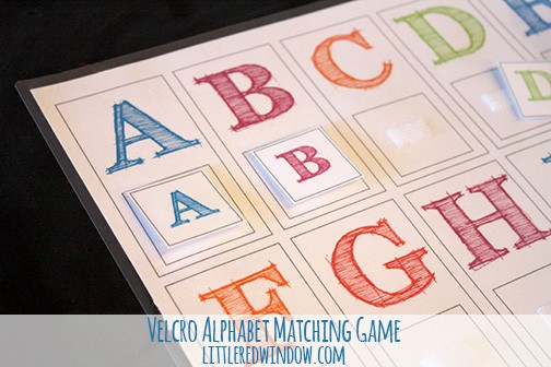 Closeup of letters A and B and the matching letter tiles