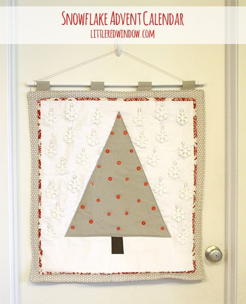 """Quilted snowflake advent calendar with all of the snowflakes in the 'sky"""""""