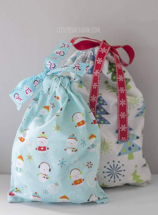 Sew this Easy 3 SEAM drawstring gift bag for your Christmas presents this year, they look cute and can be reused over and over!