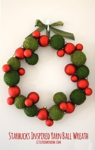 Starbucks Inspired Yarn Ball Wreath | littleredwindow.com |Beautiful and easy DIY Christmas Wreath